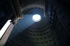 Interior of Rome Pantheon with the famous ray of light from the top Royalty Free Stock Photo