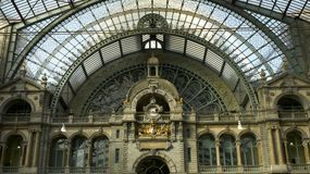 Interior and roof of Antwerp railway station Stock Photos
