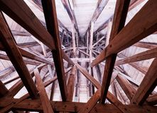 PRAGUE, CZECH REPUBLIC - SEPTEMBER 4, 2017. Interior roof wooden structure of the Charles bridge tower, Prague, Czech Republic. Interior roof wooden structure of Stock Photography