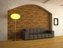 Interior of a room. With a sofa and a floor lamp Stock Photo