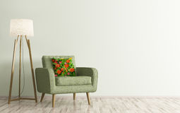 Interior of room with armchair and floor lamp 3d rendering. Modern living room interior with green armchair and floor lamp 3d rendering Stock Images