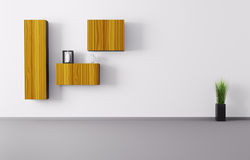 Room with shelves 3d render Royalty Free Stock Photos