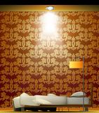 Interior of a room with bed, golden wallpaper. Royalty Free Stock Image