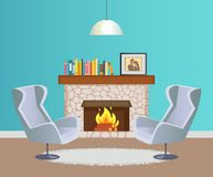 Designer Room with Fireplace and Armchairs Vector. Interior of room in blue color of wallpaper with hanging lump, fireplace with burning firewood decorated with stock illustration