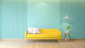 Blue room  interior, yellow sofa with white lamp on wood flooring and light blue wall, 3d render Stock Image