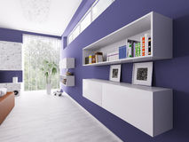 Interior of a room with bookshelves Royalty Free Stock Photos