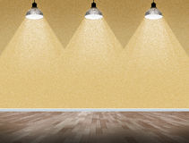 Interior room with brick wall and three light spots Royalty Free Stock Image