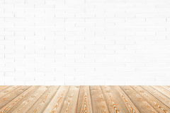 Interior room with brick wall and wood floor stock photography