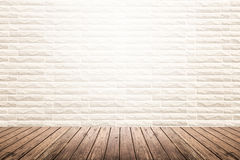 Interior room with brick wall and wooden floor Stock Photo