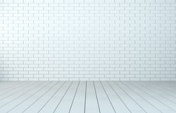 Interior room with brick wall and wooden floor. Interior room with white brick wall and wooden floor. 3D Illustration Stock Image