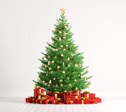 Interior of a room with christmas tree over white wall 3d render Stock Photos