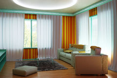 Interior room in the colors of the 60s. 3d illustration Royalty Free Stock Photo