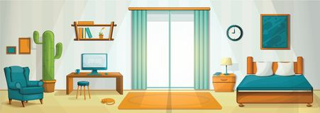 Interior room concept background, cartoon style vector illustration