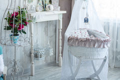 Interior room with a cot in retro style Stock Photo