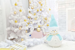 Interior room decorated in Christmas style. Royalty Free Stock Photos