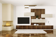 Interior of room with fireplace and plasma tv 3d. Interior of modern room with fireplace and lcd tv 3d render Stock Photos