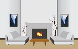 Interior room with fireplace, vector illustration. Interior room with fireplace, table and sofas, vector illustration stock illustration