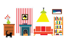 Interior of the room in the funny flat style Royalty Free Stock Images