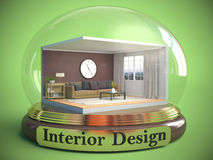 Interior of the room in glass ball. 3D Illustration Royalty Free Stock Photo