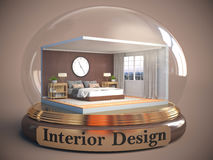 Interior of the room in glass ball. 3D Illustration Stock Photo