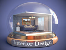 Interior of the room in glass ball. 3D Illustration Stock Photos