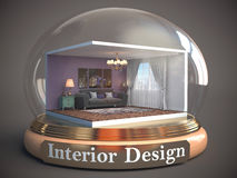 Interior of the room in glass ball. 3D Illustration Royalty Free Stock Images