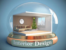 Interior of the room in glass ball. 3D Illustration Royalty Free Stock Image