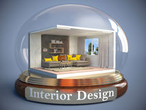 Interior of the room in glass ball. 3D Illustration Stock Image