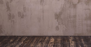 Interior room with gray decorative plaster wall Royalty Free Stock Photography