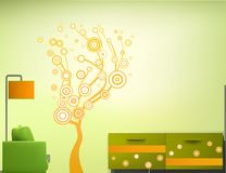 Interior room in the green-orange style. Vector Stock Photography
