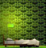 Interior of a room in green style. Vector Royalty Free Stock Images