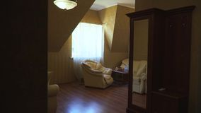 Interior room a hotel room. Interior of a hotel room for rest stock video