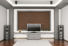 Interior of room with lcd and speakers 3d Stock Photo