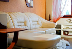 Interior room with leather white sofa Stock Photography