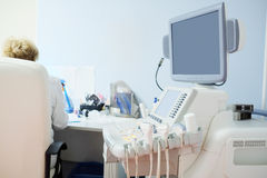 Interior room with medical ultrasound diagnostic equipment Royalty Free Stock Images