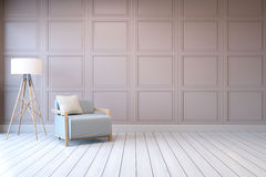 Minimalist  interior design,blue armchair with white lamp on pink frame wall and white wood flooring , 3d render Royalty Free Stock Images
