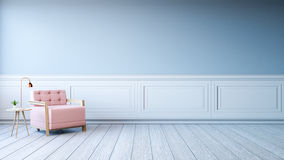Minimalist  interior design,light pink armchair with gold lamp on white frame with blue wall and white wood flooring , 3d render Stock Photo