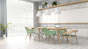Minimalist interior ,meeting room ,White room with green chair and wood table, Scandinavian style. 3D render Royalty Free Stock Photos