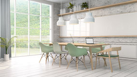Minimalist interior ,White room with green chair and wood table,brick wall and green view . Scandinavian style. 3D render Royalty Free Stock Photos