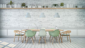 Minimalist interior ,White room with green chair and wood table , white brick wall . Scandinavian style. 3D render Royalty Free Stock Image