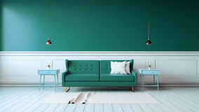 Modern interior of living room with green armchairs on white flooring and dark green wall  ,3d rendering Royalty Free Stock Photo