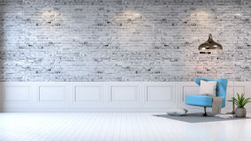 Modern loft interior  ,living room,  white wood flooring, blue armchair and white lamp on bright gray bricks wall  background , 3d. Render Royalty Free Stock Photos