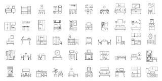 Interior room objects icons set, outline style. Interior room. Objects in house. Home inside furniture icons set. Outline illustration of 50 Interior room stock illustration