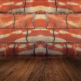Interior room of old reddish brown textured wall with blocks and wooden flour. Interior room of old reddish brown textured wall with blocks and wood floor Royalty Free Stock Photos