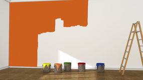 Interior room and paint cans Stock Image