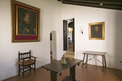 Interior room with paintings of Christopher Columbus and his sponsor, Spanish Queen Isabella, as seen at the 15th-century Francisc. An Monasterio de Santa Mar� Stock Photos