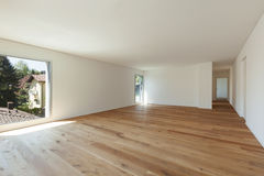 Interior, room with parquet floor and windows Royalty Free Stock Photography