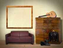 Interior Room with Picture Frame Stock Photos