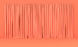 Interior room in plain monochrome pinkish orange color with only curtain. Light background with copy space. 3D rendering