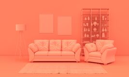 Interior room in plain monochrome pinkish orange color with furnitures and room accessories. Light background with copy space. 3D